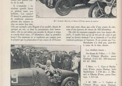 1927 14-15 08 Meeting du 1er GP de Paris de 24 h. à Linas-Montlhéry. Course des 1100 ; Amilcar MCO GH 1er Martin n°14 et 2ème Morel MCO étroit n°12. Course des Dames, Junek-Bugatti 2300cc. 2