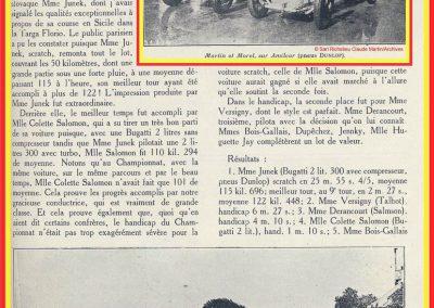 1927 14-15 08 Meeting du 1er GP de Paris de 24 h. à Linas-Montlhéry. Course des 1100 ; Amilcar MCO GH 1er Martin n°14 et 2ème Morel MCO étroit n°12. Course des Dames, Junek-Bugatti 2300cc. 4