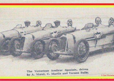 1927 15 10 Brooklands les 200 miles. Les 3 Amilcar 1100 MCO victorieuses, 1er Morel n° 23, 2ème Balls n°22 et 3ème Martin n°24. Campbell 1er Bugatti 1500cc 1