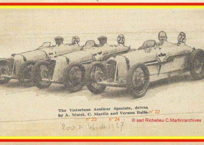 1927 15 10 Brooklands les 200 miles. Les 3 Amilcar MCO victorieuses, 1er Morel n° 23, 2ème Balls n°22 et 3ème Martin n°24. Campbel 1er Bugatti 1500cc. 0