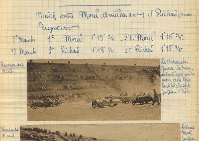 1927 15 10 Brooklands les 200 miles. Les 3 Amilcar MCO victorieuses, 1er Morel n° 23, 2ème Balls n°22 et 3ème Martin n°24. Campbel 1er Bugatti 1500cc. 9