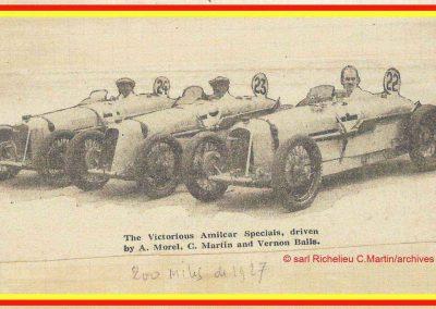1927 15 10 les 200 Miles à Brooklands, Amilcar 1er Morel MCO 1100 n°23, V. Balls 2ème n°22 et Martin 3ème n°24. Campbell Bugatti 1er des 1600. 1