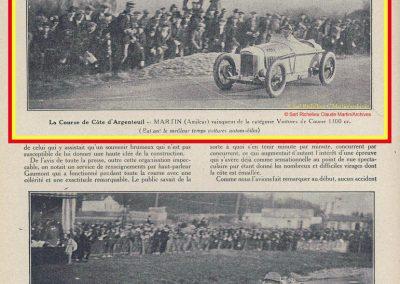 1927 20 03 Côte d'Argenteuil D.A. 1,800 km, Amilcar C.O. Martin 1'16''4-5, R.B. 84 km-h de moy. Grande Médaille d'Or. 4