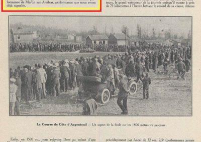 1927 20 03 Côte d'Argenteuil D.A. 1,800 km, Amilcar C.O. Martin 1'16''4-5, R.B. 84 km-h de moy. Grande Médaille d'Or. 6