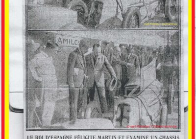 1927 24 07 GP Saint Sébastien. Monsieur Sée présente à l'Infant Don Jaime d'Espagne, Charles Martin, 1er des 1100cc et fait admirer le moteur du MCO 1100. Photo du MCO Géo Ham de Martin 1