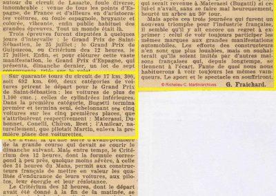 1927 25 07 GP Saint Sébastien 1er des 1100 Martin Amilcar MCO G.H. Record 1100 battu et à 4' de la 5ème Bugatti 2000cc (abs de Morel, roulement de roue et Leblanc tombe en panne d'essence). 9