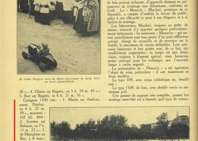 1927 25 07 GP Saint Sébastien 1er des 1100 Martin Amilcar MCO G.H. Record battu et à 4' de la Bugatti 2000cc (ab. de Morel, roulement de roue et Leblanc en panne d'essence !). 2