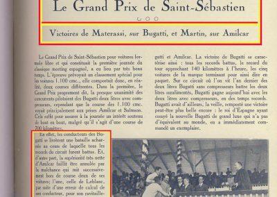 1927 25 07 GP Saint Sébastien, Martin Amilcar MCO G.H. 1er des 1100. ab. de Morel et Leblanc. Au GP d'Espagne 1er Benoist, Morel est en panne avec la 2ème et même Delage 1500 de Benoist !. 1