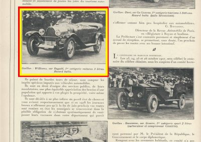 1927 25 09 Gaillon. 1er Williams Bugatti Tourisme 3000cc.1
