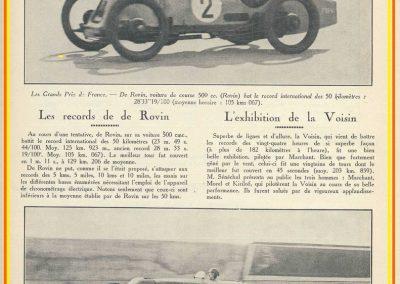 1927 26 09 VOISIN, Records, 4383 km en 24 h. à 182 kmh de moy., Marchand, Morel et le Prince Kiriloff. Record des 50 km de de Rovin 500cc à 125 km-h. 1