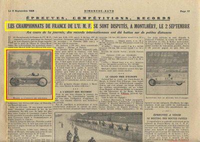 1928 02 09 1 Arpajon Records du Monde Morel Amilcar le km lancé 1100cc à 206,895 km-h 17'40-100 + le Mile. Avec la 1500cc 1 Record du Monde à 210,770 km-h 17'18-100, 1