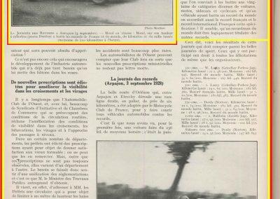 1928 02 09 1 Arpajon Records du Monde Morel Amilcar le km lancé 1100cc à 206,895 km-h 17'40-100 + le Mile. Avec la 1500cc 1 Record du Monde à 210,770 km-h 17'18-100, 4