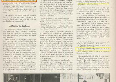 1928 02 09 Arpajon 2 Records du Monde Morel Amilcar le km lancé 1100cc à 206,895 km-h 17'40-100 + le Mile. Avec la 1500cc 1 Record du Monde à 210,770 km-h 17'18-100, 4
