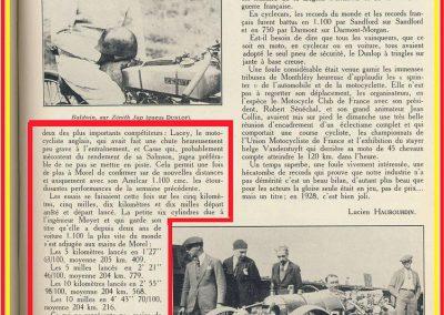 1928 02 09 Arpajon 2 Records du Monde Morel Amilcar le km lancé 1100cc à 206,895 km-h 17'40-100 + le Mile. Avec la 1500cc 1 Record du Monde à 210,770 km-h 17'18-100, 6