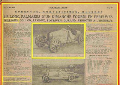 1928 08 05 le Km Lancé à Vernon dans l'Eure. Williams Bugatti 2000cc en 17'8-10. La Targa Florio 1er Divo Bugatti. 1
