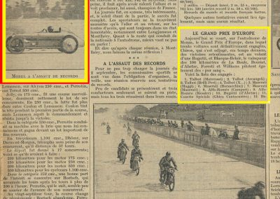 1928 09 09 GP Europe à Monza 1er Chiron-Bugatti, ab de Willians Bug. 35C. Records Amilcar Morel 205 kmh.1