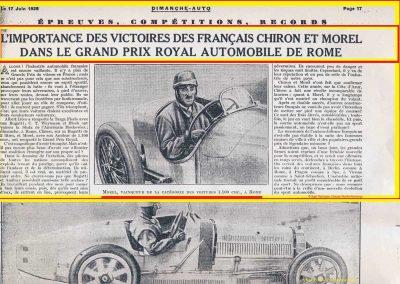 1928 10 06 GP Royal de Rome Morel Amilcar MCO 1er des 1100cc (Zampiéri 11ème). Chiron Bugatti 2000cc 1er au général. 1