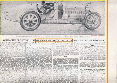 1928 10 06 GP Royal de Rome Morel Amilcar MCO 1er des 1100cc (Zampiéri 11ème). Chiron Bugatti 2000cc 1er au général. 2