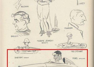 1928 12 09 Caricatures de G. Ham, Bal, Mme Jennky, Lacey, Brougnt, Franconi, Darmont, Miss Stewart et Morel en Amilcar MCO. 1