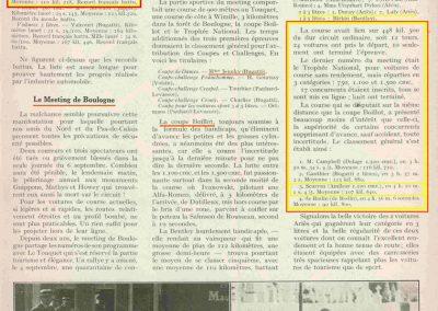 1928 13 09 Records Monde Amilcar Morel 206 et 210, voire 220 kmh. Le Meeting Boulogne Coupe Boillot, Ivanowski 1er Alfa. Le Trophée National 1er Benoist, 3ème Scaron Amilcar C.6. 1