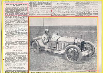 1928 21 07 Côte la Baraque 6,6 km 9%, Morel 4'12''2-5, à Clermont Ferrand 85 km-h de moy. Trouville 8ème Jeuffrain. 2