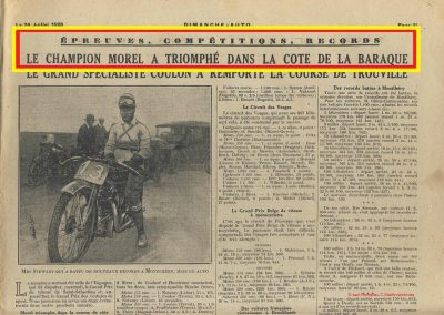 1928 22 07 Côte la Baraque à Clermont Ferrand Amilcar Morel, montée de 12% sur 5,5 km en 4'12''2-5, MTJ TC à 81km-h de moy. Côte de la Croix Sonnet (Trouville) 1er Scaron et Jeuffrain sur C.6. 1
