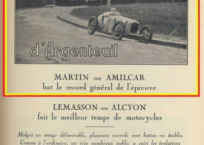 1928 25 03 Argenteuil, 1er Charles Martin Amilcar MCO 1100 en 1'22 et avec le 1500 à 1'15'' R.B.J.R.G.B. 1