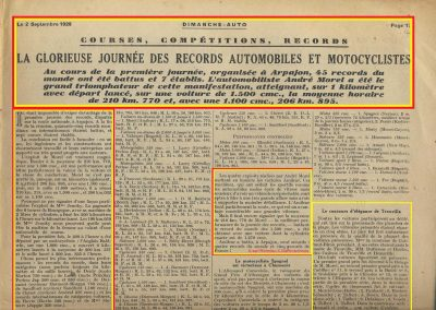1928 25 08 Records du Monde, le Km lancé, Arpajon Morel Amilcar MCO 1100cc à 206,895 et en 1500cc à 210,770 km-h 10
