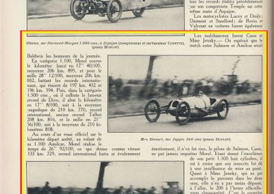 1928 26 08 Records Internationaux, Amilcar MCO 1500, Morel, le km lancé 17''08 à 210,770 km-h. En 1100cc 17''40 à 206,895 km. 10