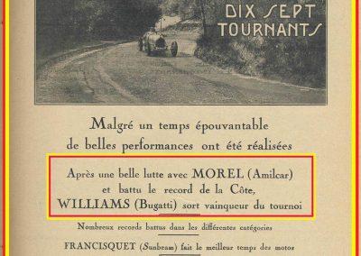 1928 29 04 Côte des 17 Tournants, 1800 km, Amilcar 1500 MCO n°66 Morel 1'29'' R.B., Martin n°71, MCO G.H. 1'32 R.B., , Williams Bugatti n° 74, 2000cc 1'28 R.B. 1