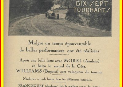 1928 29 04 Tournants 17 Williams 1'28'' 1er en 2000cc, en 1500 Morel 1'29'' et 1100 1'32'' Martin. 1