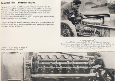 1929 -- 11 Châssis, moteur complet de l'Amilcar M.C.O., 6 cylindres, 1500cc (1275cc réel) d'Indianapolis, montrant le moteur groupe Borgne (sans culasse démontable). 1