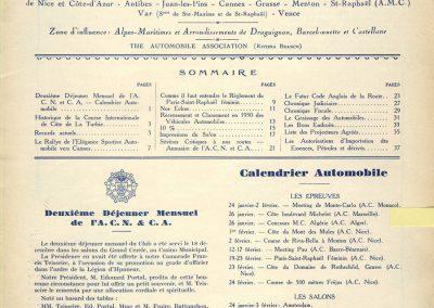 1930 -- 01 Revue de l'Automobile de la Côte d'Azur. Records de laTurbie. 1