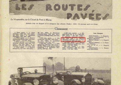 1930 14 09 Meeting des Routes Pavées, Circuit de Pont-à-Marcq, C.A. Martin Amilcar 6 cyl. n°54, 3ème des 1100cc. 2