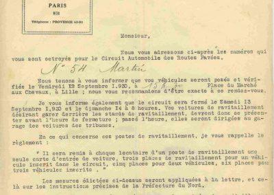 1930 14 09 Meeting des Routes Pavées, Circuit de Pont-à-Marcq, C.A. Martin Amilcar 6 cyl. n°54, 3ème des 1100cc. 3