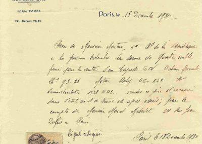 1930 18 12 Achat de C.A. Martin d'un Caban Spécial au Garage Bayen pour le compte de Mr Marcel Merdelet. (Copier)