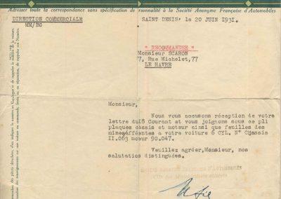 1931 20 06 de Amilcar Mr Sée à J. Scaron, envoie des documents permettant l'immatriculation d'un C.6. 1