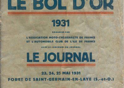 1931 23 25 05 Bol d'Or (10ème 24 h. un seul pilote) Saint -Germain-en-Laye. Amilcar MCO GH, C.A. Martin, 1er Cat. et 3ème au Général (avec le moteur 4 cyl. latéral 1100cc). 00_
