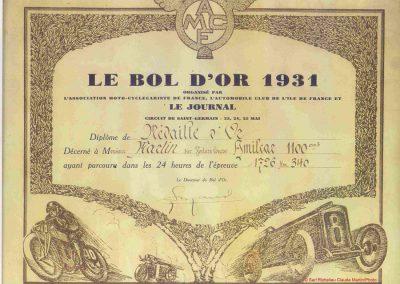 1931 23 25 05 Bol d'Or (24 h. un seul pilote) Saint -Germain-en-Laye. Amilcar MCO GH, C.A. Martin, 1er Cat. et 3ème au Général (avec le moteur 4 cyl. latéral 1100cc). 2_