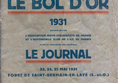 1931 23-25 05 Bol d'Or St Germain (les 24 h. 1 seul pilote). 1er Catégorie Sport, C.A. Martin Amilcar MCO GH n° 103, 413 tours soit, 1726 km à 71 km-h de moy. 1