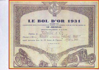 1931 23-25 05 Bol d'Or St Germain (les 24 h. 1 seul pilote). 1er Catégorie Sport, C.A. Martin Amilcar MCO GH n° 103, 413 tours soit, 1726 km à 71 km-h de moy. 3