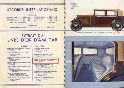 1931 24 05 Livre d'Or Draéger Amilcar Usine, Bol d'Or 1er Cat. C.A. Martin 1726 km Amilcar n°103. 2