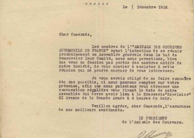1932 08 12 Invitation de René Thomas (Pdt l'amicale des Coureurs Automobile de France) d'assisté à une réunion. _