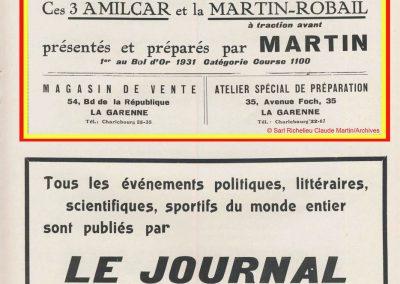 1932 14-15 05 Bol d'Or, 1er Cat. Course Amilcar C.A. Martin MCO GH, 2ème Bodoignet, 5ème Raph, 2ème des 500 M-Robail. 7