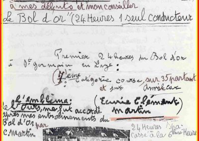 1932 14 15 16 05 Bol d'Or C.A. Martin 1er Cat. Course Amilcar MCO GH n°46, 2ème Bodoignet n°72, 5ème Raph n°47, Poiré 3ème Sport n°18 sur 6 cyl. Amilcar usine et Martin-Robail n°36. 12