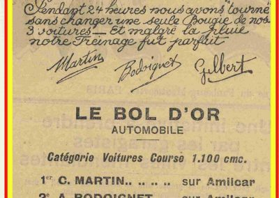 1932 14 15 16 05 Bol d'Or C.A. Martin 1er Cat. Course Amilcar MCO GH n°46, 2ème Bodoignet n°72, 5ème Raph n°47, Poiré 3ème Sport n°18 sur 6 cyl. Amilcar usine et Martin-Robail n°36. 17