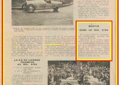 1932 14 15 16 05 Bol d'Or C.A. Martin 1er Cat. Course Amilcar MCO GH n°46, 2ème Bodoignet n°72, 5ème Raph n°47, Poiré 3ème Sport n°18 sur 6 cyl. Amilcar usine et Martin-Robail n°36. 32