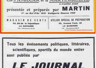 1932 14 15 16 05 Bol d'Or C.A. Martin 1er Cat. Course Amilcar MCO GH n°46, 2ème Bodoignet n°72, 5ème Raph n°47, Poiré 3ème Sport n°18 sur 6 cyl. Amilcar usine et Martin-Robail n°36. 8