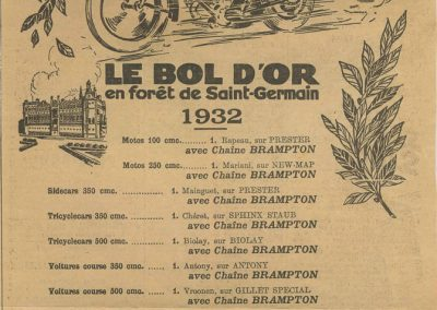 1932 14 15 16 05 Bol d'Or C.A. Martin 1er Cat. Course Amilcar MCO GH n°46, 2ème Bodoignet n°72, 5ème Raph n°47, Poiré 3ème Sport n°18 sur 6 cyl. Amilcar usine et Martin-Robail n°36. 9