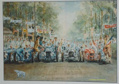 1932 16 05 Bol d'Or, Aquarelle de Rob Roy, représentant le départ, à G., 3 Amilcar, 1er Cat. C.A. Martin, Bodoignet, Raph et la Robail (en rouge), _